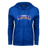 ENZA Ladies Royal Fleece Full Zip Hoodie-Arched Rollins Tars