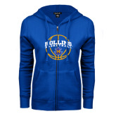 ENZA Ladies Royal Fleece Full Zip Hoodie-Rollins Basketball Arched w/ Ball