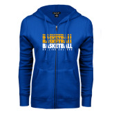 ENZA Ladies Royal Fleece Full Zip Hoodie-Basketball Repeating