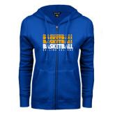 ENZA Ladies Royal Fleece Full Zip Hoodie-Basketball Repeating