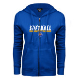 ENZA Ladies Royal Fleece Full Zip Hoodie-Rollins College Softball Underline