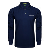 Navy Long Sleeve Polo-Rollins Institutional Mark Flat