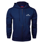 Navy Fleece Full Zip Hood-Rollins Institutional Mark Stacked