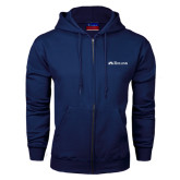 Navy Fleece Full Zip Hoodie-Rollins Institutional Mark Flat