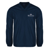 V Neck Navy Raglan Windshirt-Rollins Institutional Mark Stacked