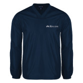 V Neck Navy Raglan Windshirt-Rollins Institutional Mark Flat