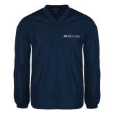 V Neck Navy Raglan Windshirt-Rollins Institutional Mark Flat