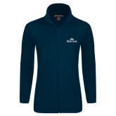 Ladies Fleece Full Zip Navy Jacket-Rollins Institutional Mark Stacked