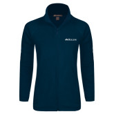 Ladies Fleece Full Zip Navy Jacket-Rollins Institutional Mark Flat