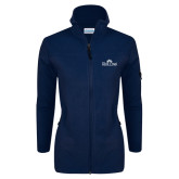 Columbia Ladies Full Zip Navy Fleece Jacket-Rollins Institutional Mark Stacked