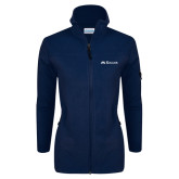 Columbia Ladies Full Zip Navy Fleece Jacket-Rollins Institutional Mark Flat