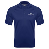 Navy Textured Saddle Shoulder Polo-Rollins Institutional Mark Stacked