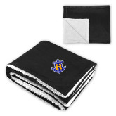 Super Soft Luxurious Black Sherpa Throw Blanket-Official Logo