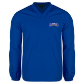 V Neck Royal Raglan Windshirt-Arched Rollins Tars