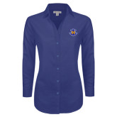 Ladies Red House Diamond Dobby Royal Long Sleeve Shirt-Official Logo