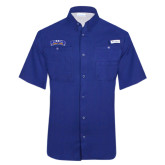 Columbia Tamiami Performance Royal Short Sleeve Shirt-Arched Rollins Tars