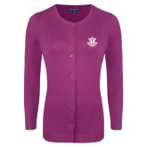 Ladies Deep Berry Cardigan-Official Logo