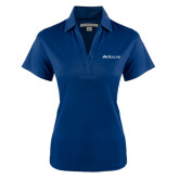 Ladies Navy Performance Fine Jacquard Polo-Rollins Institutional Mark Flat