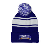 Royal/White Two Tone Knit Pom Beanie with Cuff-Arched Rollins Tars