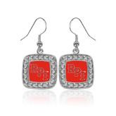 Crystal Studded Square Pendant Silver Dangle Earrings-RPI