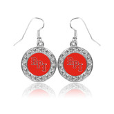 Crystal Studded Round Pendant Silver Dangle Earrings-RPI
