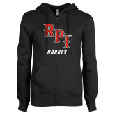 ENZA Ladies Black Fleece Full Zip Hoodie-Hockey