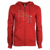 ENZA Ladies Red Fleece Full Zip Hoodie-RPI