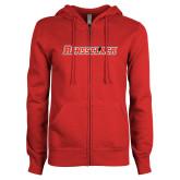 ENZA Ladies Red Fleece Full Zip Hoodie-Rensselaer