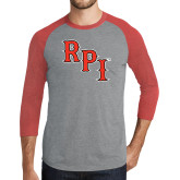 Grey/Red Heather Tri Blend Baseball Raglan-RPI
