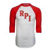 White/Red Raglan Baseball T-Shirt-RPI Distressed