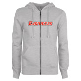 ENZA Ladies Grey Fleece Full Zip Hoodie-Engineers