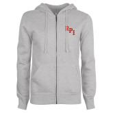 ENZA Ladies Grey Fleece Full Zip Hoodie-RPI