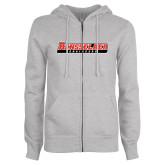 ENZA Ladies Grey Fleece Full Zip Hoodie-Rensselaer Engineers