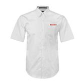 White Twill Button Down Short Sleeve-Rensselaer