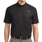 Black Twill Button Down Short Sleeve-RPI