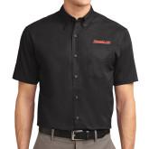 Black Twill Button Down Short Sleeve-Rensselaer