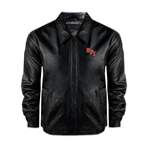 Black Leather Bomber Jacket-RPI