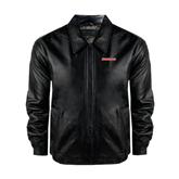 Black Leather Bomber Jacket-Rensselaer