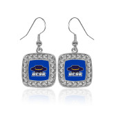 Crystal Studded Square Pendant Silver Dangle Earrings-Primary