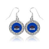 Crystal Studded Round Pendant Silver Dangle Earrings-Primary