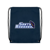 Navy Drawstring Backpack-Santa Barbara with Hat
