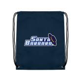 Navy Drawstring Backpack-Santa Barbara with Hat