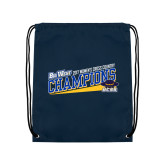 Navy Drawstring Backpack-2017 Womens Cross Country Champions