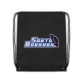 Black Drawstring Backpack-Santa Barbara with Hat
