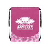 Nylon Zebra Pink/White Patterned Drawstring Backpack-Primary