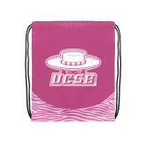 Nylon Zebra Pink/White Patterned Drawstring Backpack-Primary