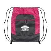 Nylon Pink Raspberry/Deep Smoke Pocket Drawstring Backpack-Primary