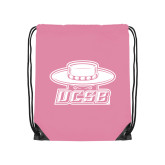 Light Pink Drawstring Backpack-Primary