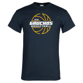Navy T Shirt-Gauchos Basketball Lined Ball