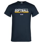 Navy T Shirt-Softball Stencil